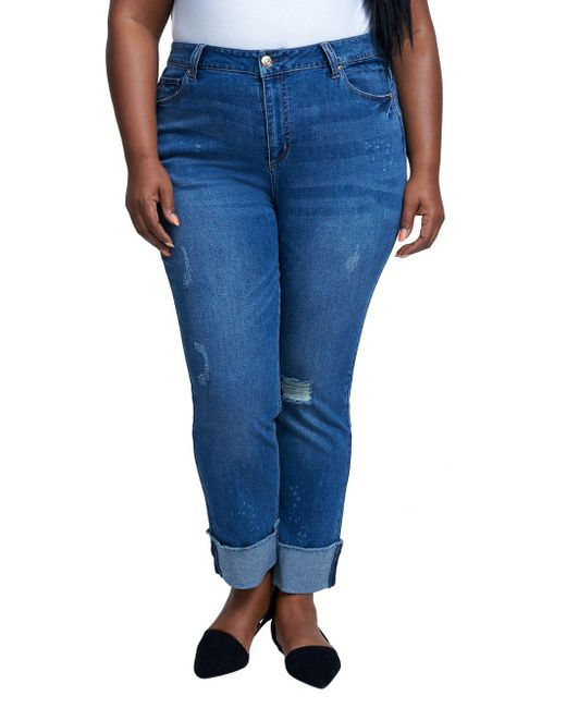 Seven7 Blue Plus High-rise Distressed Slim Straight Jeans