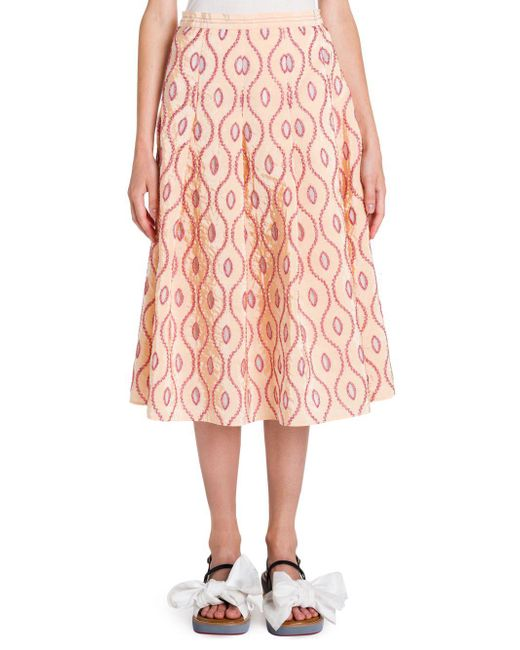 Marni - Pink Taffeta Pleated Skirt - Lyst