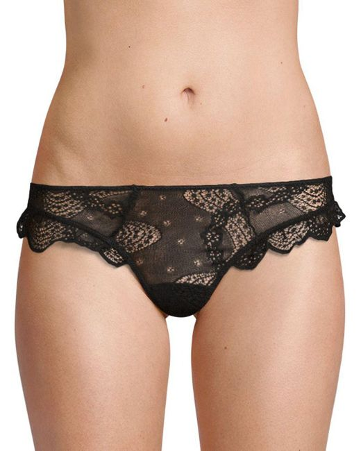 Eberjey - Black Scallop-trimmed Lace Thong - Lyst