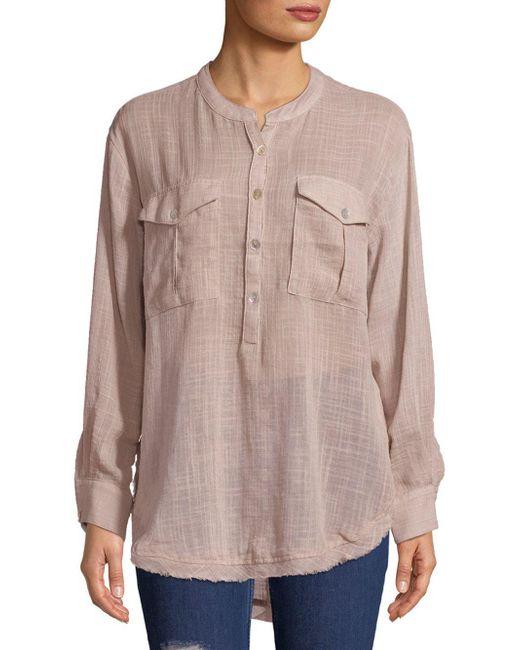 Free People - Gray Long-sleeve Frayed-hem Shirt - Lyst