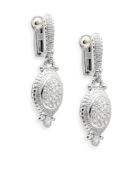 Judith Ripka   Metallic Natalie White Sapphire & Sterling Silver Pavé Oval Drop Earrings   Lyst
