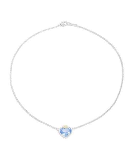 Judith Ripka | Blue Quartz, White Sapphire, Sterling Silver & 18k Yellow Gold Heart Pendant Necklace | Lyst