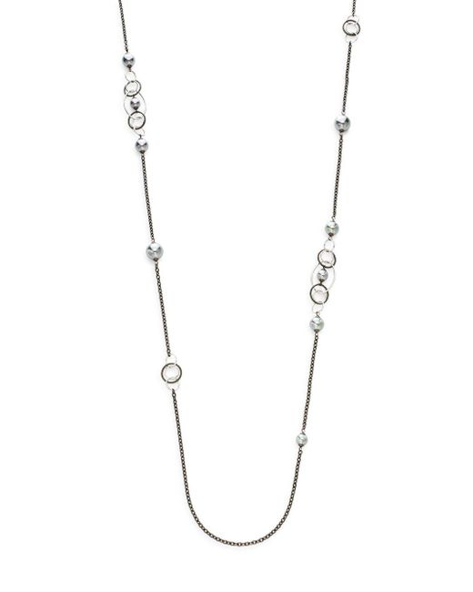 Majorica | Metallic 8mm-12mm Grey Round Pearl Long Chain Necklace | Lyst