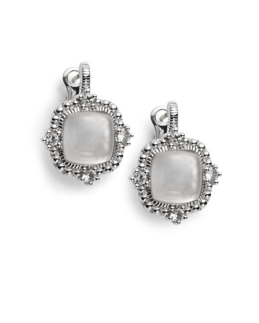 Judith Ripka | La Petite Mother-of-pearl, White Sapphire & Sterling Silver Doublet Earrings | Lyst