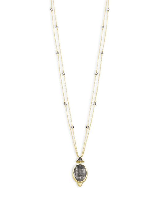 Freida Rothman - Metallic Contemporary Deco Cubic Zirconia And Sterling Silver Oval Pave Pendant Necklace - Lyst