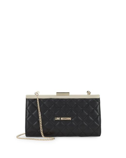 Love Moschino - Black Quilted Convertible Clutch - Lyst