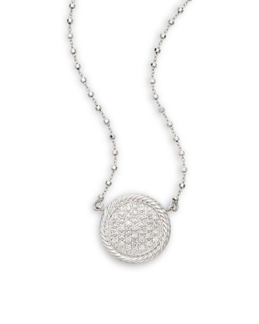 Alor - Metallic Diamond, 18k White Gold & Stainless Steel Pendant Necklace - Lyst