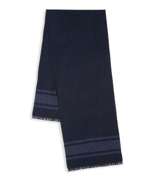 Saks Fifth Avenue - Blue Striped Border Merino Wool Scarf for Men - Lyst