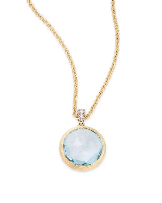 Marco Bicego - Metallic Delicati Diamond, Blue Topaz & 18k Yellow Gold Pendant Necklace - Lyst