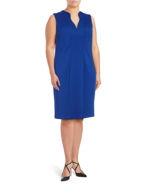 CALVIN KLEIN 205W39NYC - Blue Split V Sheath Dress - Lyst