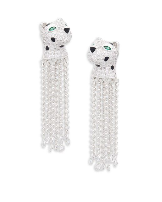 CZ by Kenneth Jay Lane - Metallic Cubic Zirconia Panther Fringe Clip-on Earrings - Lyst