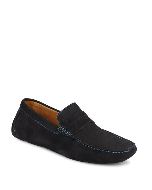 Saks Fifth Avenue | Blue Suede Penny Drivers for Men | Lyst