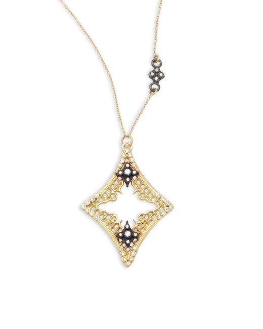 Armenta - Metallic Old World Diamond, Sapphire, 18k Yellow Gold & Sterling Silver Mesh Cravelli Marquis Pendant Necklace - Lyst