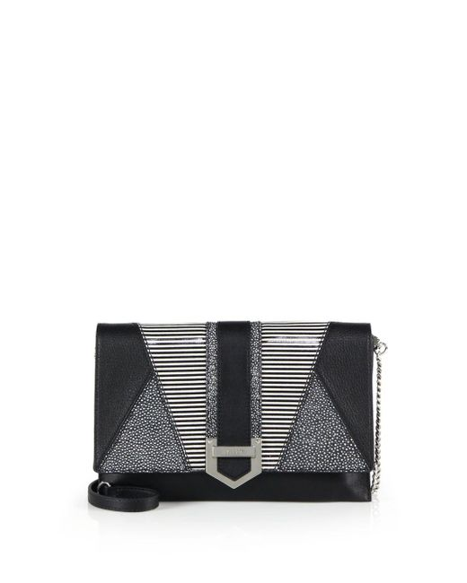 MILLY - Black Whitney Patchwork Leather Clutch - Lyst
