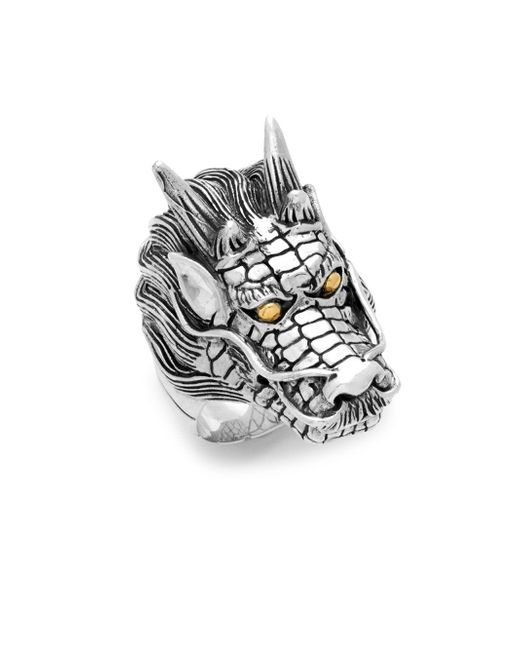 Effy - Metallic 18k Yellow Gold And Sterling Silver Dragon Ring for Men - Lyst