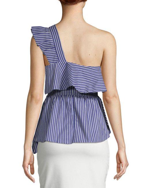 Lea & Viola Striped One-shoulder Ruffle Cotton Top
