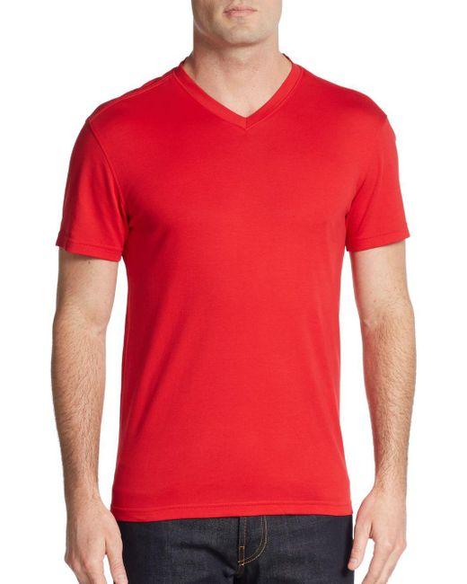 Saks Fifth Avenue   Red Slim V-neck Pima Cotton Tee for Men   Lyst