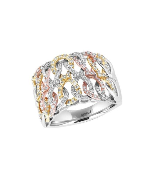 Effy - Metallic Trio Diamond, 14k White Gold, 14k Yellow Gold And 14k Rose Gold Ring 0.62 Tcw - Lyst