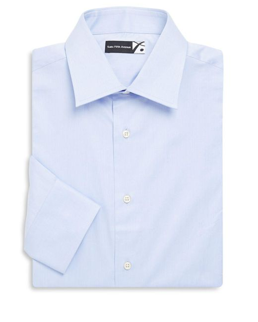 Saks Fifth Avenue - Blue Solid Cotton Twill Dress Shirt for Men - Lyst