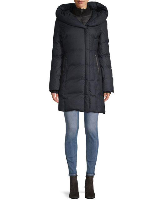 SOIA & KYO - Black Hooded Puffer Coat - Lyst