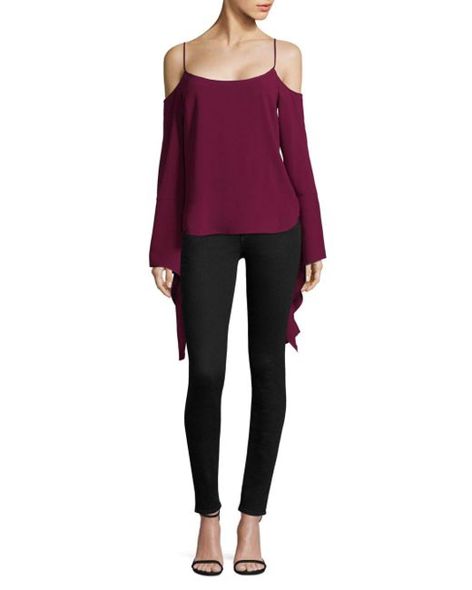 Lyst Bcbgmaxazria Bell Sleeve Scoopneck Blouses In Purple Save