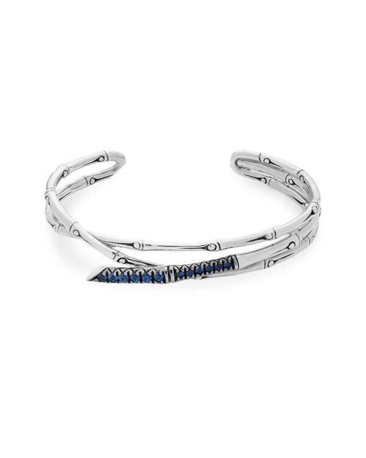 John Hardy - Blue Sapphire & Sterling Silver Bamboo Cuff Bracelet - Lyst