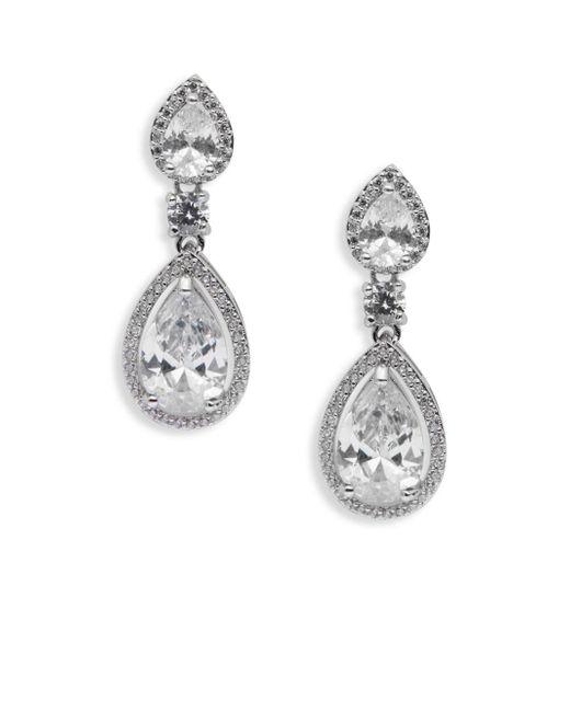 Saks Fifth Avenue | Metallic Clear Rhodium Dangle Earrings | Lyst