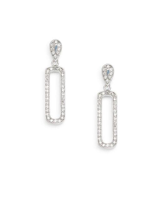 Effy - Metallic 0.39 Tcw Diamond & 14k White Gold Oval Drop Earrings - Lyst