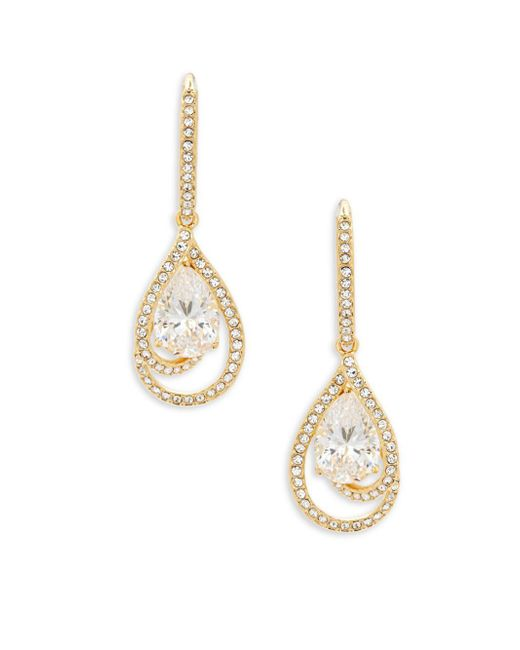 Adriana Orsini - Metallic Faceted Cubic Zirconia Drop Earrings - Lyst