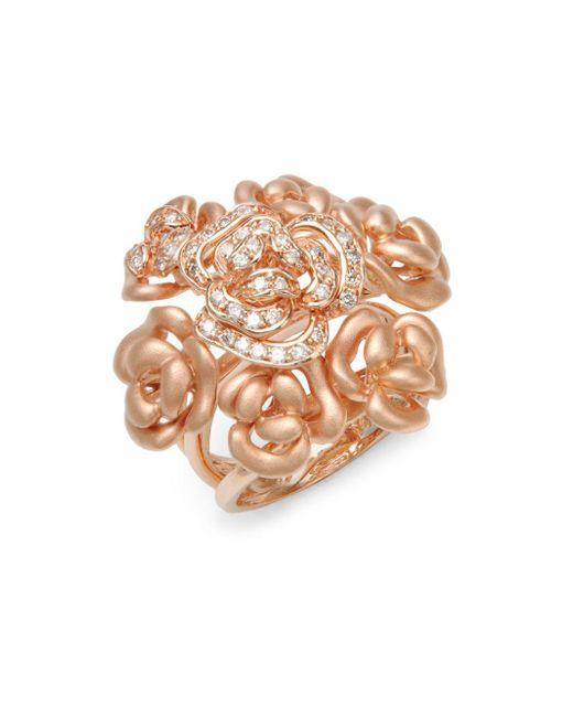 Effy - Metallic Diamond & 14k Rose Gold Ring - Lyst