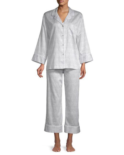 Natori - Gray 2-piece Printed Cotton Pajama Set - Lyst