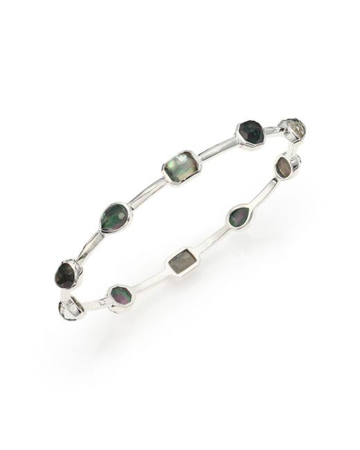 Ippolita - Metallic Rock Candy Black Shell, Clear Quartz & Sterling Silver Bangle Bracelet - Lyst
