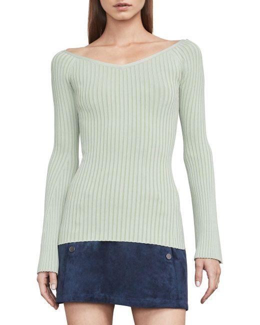 BCBGMAXAZRIA - Green Zoee Rib-knit Sweater - Lyst
