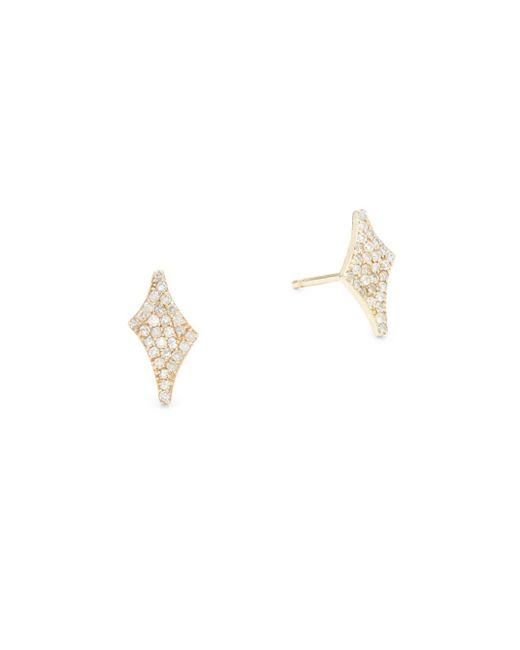 Paige Novick   Metallic Celia Diamond & 14k Yellow Gold Stud Earrings   Lyst