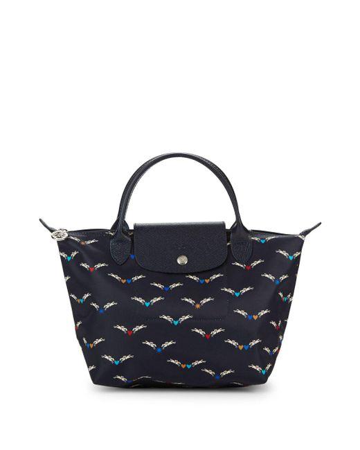Longchamp - Blue Le Pliage Chevaux Ailes Nylon Small Top Handle Bag - Lyst