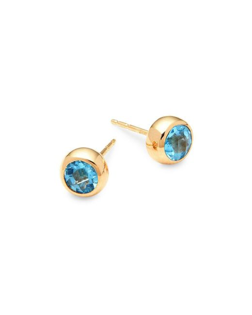 Anzie - Classique 14k Yellow Gold & Blue Topaz Stud Earrings - Lyst