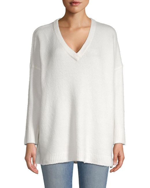 French Connection White Flossy V-neck Sweater