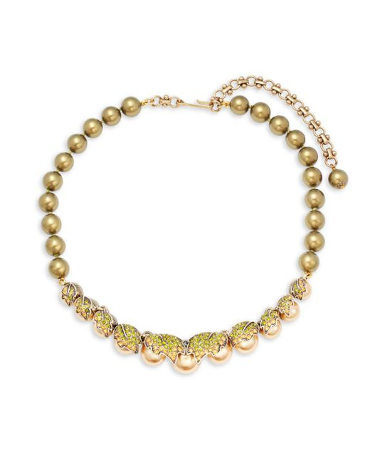 Heidi Daus Gold Amp Khaki Faux Pearl Necklace In Metallic Lyst