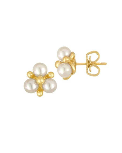 Majorica | White Faux-pearl Cluster Stud Earrings | Lyst