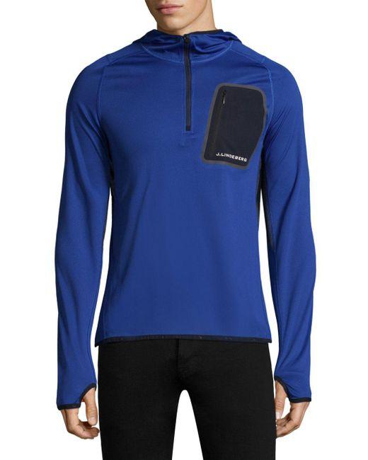 J.Lindeberg - Blue Active Hooded Running Jacket for Men - Lyst