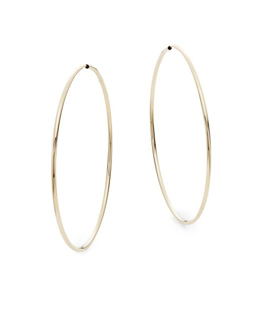 "Saks Fifth Avenue - Metallic 14k Yellow Gold Hoop Earrings/2.35"" - Lyst"