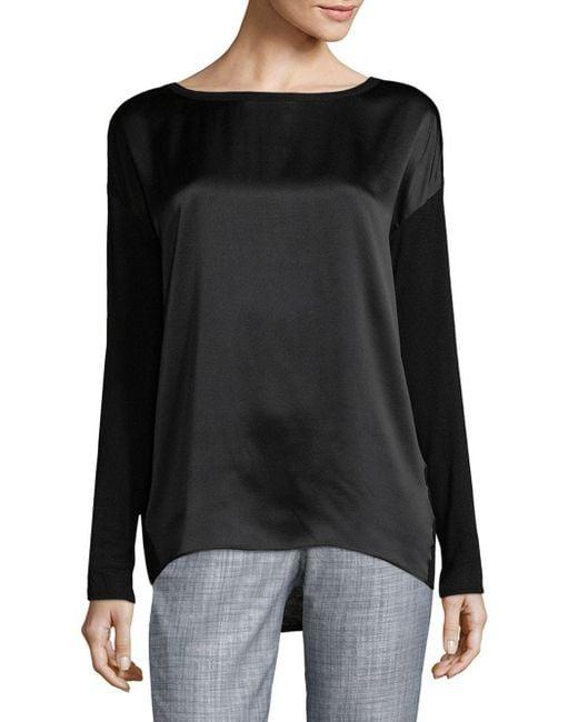 Vince - Black Long Sleeve Silk-jersey Top - Lyst