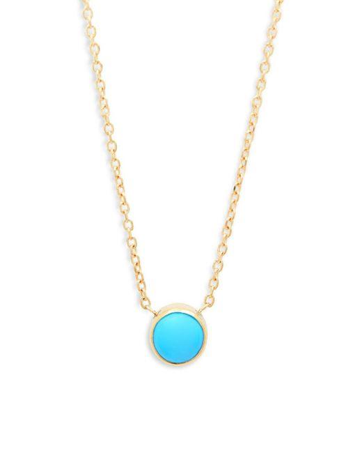 Anzie - Metallic Classique 14k Gold & Turquoise Pendant Necklace - Lyst