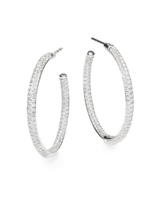 """Saks Fifth Avenue   Tcw 1.35 Diamond & 14k White Gold Hoop Earrings/1.25""""   Lyst"""