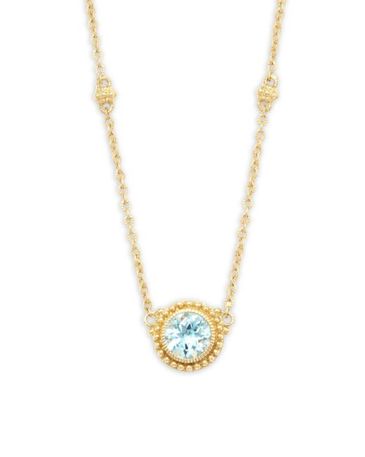 Judith Ripka - La Petite Blue Topaz & 18k Yellow Gold Pendant Necklace - Lyst