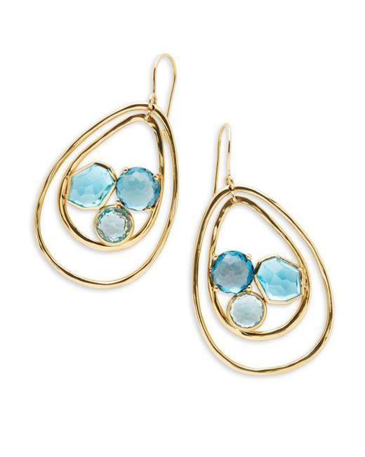 Ippolita - Metallic Rock Candy Blue Topaz, Swiss Blue Topaz, London Blue Topaz And 18k Green Gold Drop Earrings - Lyst