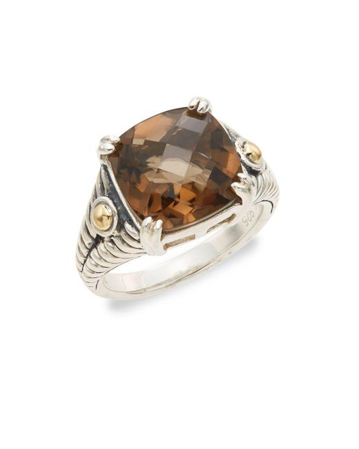 Effy - Metallic Smoky Quartz, Sterling Silver & 18k Yellow Gold Square Ring - Lyst