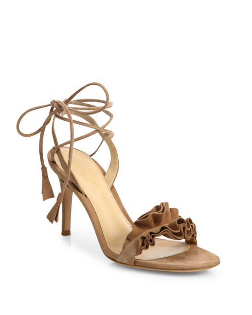 Gianvito Rossi - Metallic Ruffle Suede Ankle-wrap Sandals - Lyst