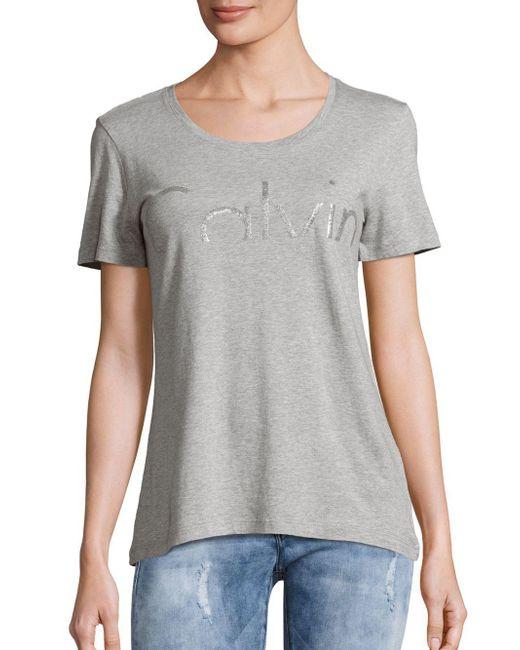 Calvin Klein Jeans | Gray Short Sleeve Roundneck Tee | Lyst