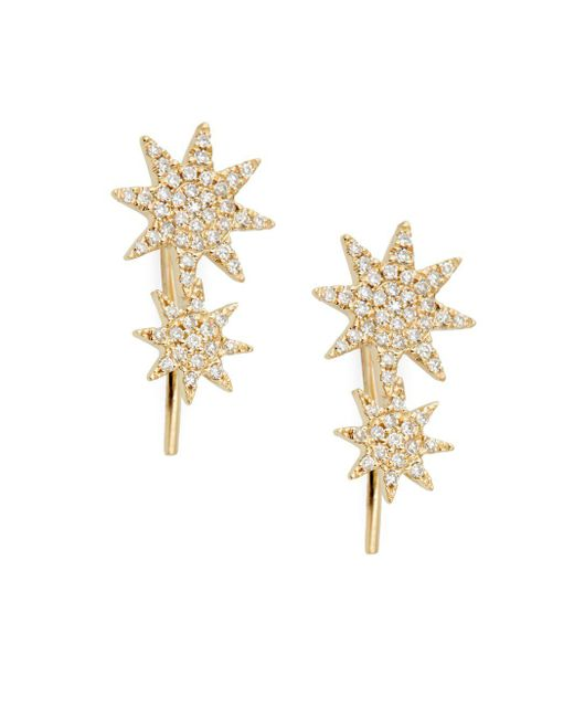 Saks Fifth Avenue - Metallic 14k Yellow Gold & Diamond Crawler Earrings - Lyst